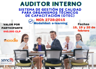 Auditor Interno Sistema de Gestión de Calidad par OTEC, Norma NCh 2728:2015