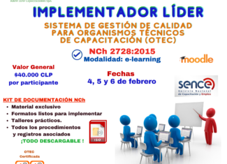 Implementador Sistema de Gestión de Calidad para OTEC, Norma NCh 2728:2015