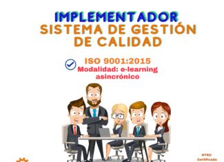 1. Implementador Avanzado Sistema de Gestión de Calidad. Norma ISO 9001:2015 (e-learning asincrónico)