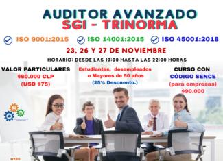 Formación de Auditor Avanzado SGI Trinorma ISO 9001, 14001 y 45001 (e-learning sincrónico)